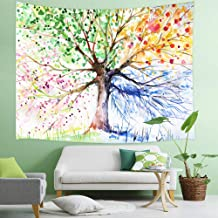 Lucky Life Tree Tapestry Wall Hanging, Colorful Watercolor Creative Psychedelic Spring Tree, Panels for Bedroom Living Room Dorm, 71 X 60 Polyester Mandala Hippie Boho Style Blankets Home Art Decor