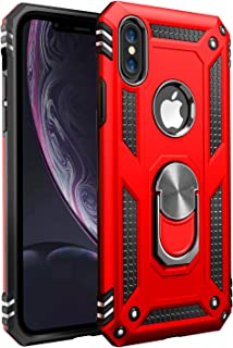 iPhone X Case | iPhone Xs Case [ Military Grade ] 15ft. Drop Tested Protective Case | Kickstand | Compatible with Apple iPhone X Case | iPhone Xs Case- Red