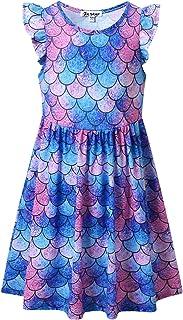 فساتين حورية البحر للفتيات بأكمام ترفرتر يونيكورن لحفلات الصيف ملابس هاواي
