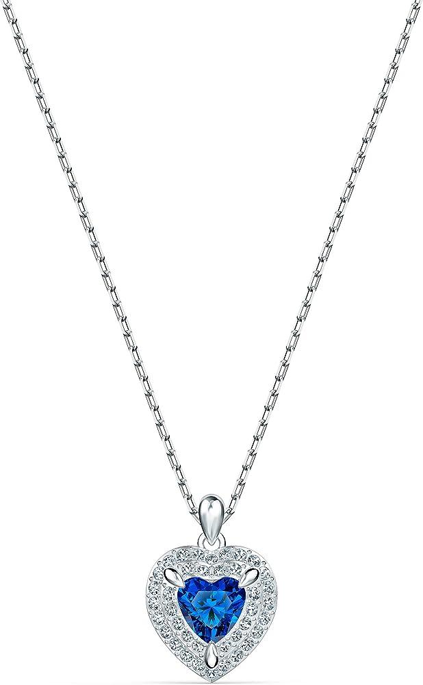 Swarovski collana per donna con pendente pendente one, azzurro,placcato rodio
