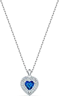 SWAROVSKI Women's One Heart Jewelry Collection Rhodium Finish Blue Crystals Clear Crystals