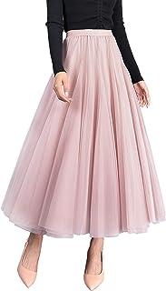 Women's Girl's Elegant Tulle Skirt A Line Elastic High Waistband Large Hem Cool Princess Long Skirt, Must-Haves of the Season - Plain