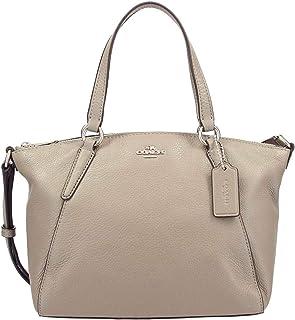 Coach F27596 SV/FO Mini Kelsey Pebble Leather Satchel Handbag Silver/Fog