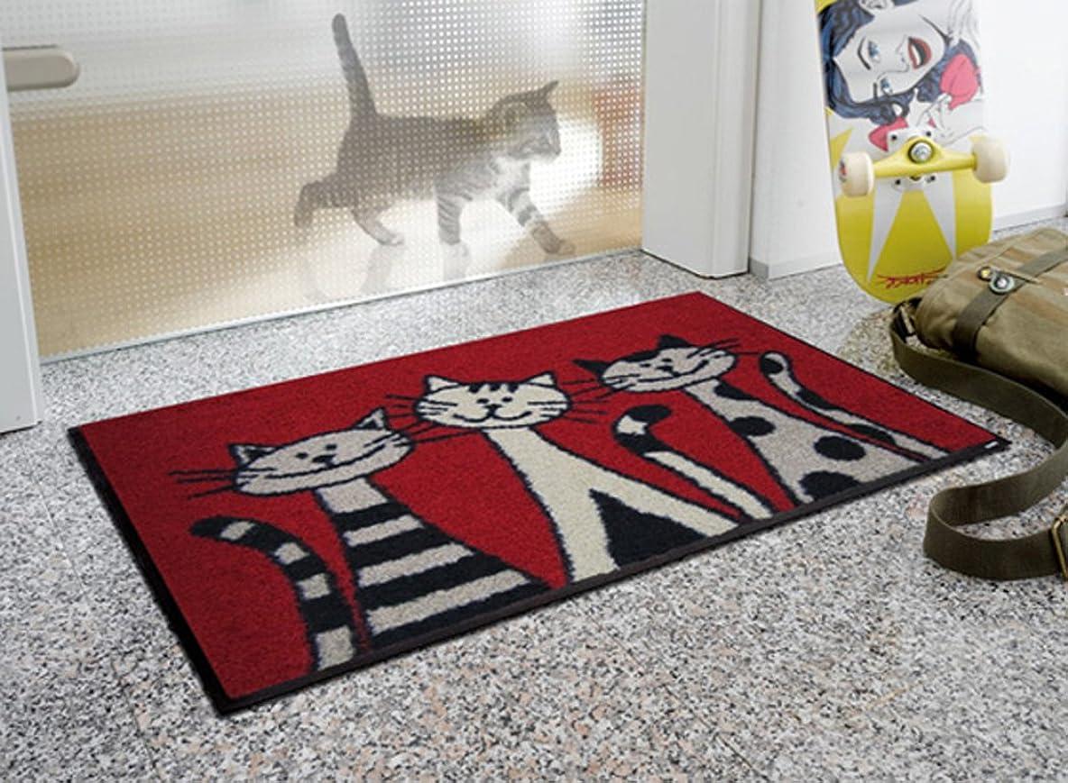離すプレビュー追放するクリーンテックス?ジャパン 玄関マット Three Cats 50×75cm wash+dry(ウォッシュ アンド ドライ) AB00006