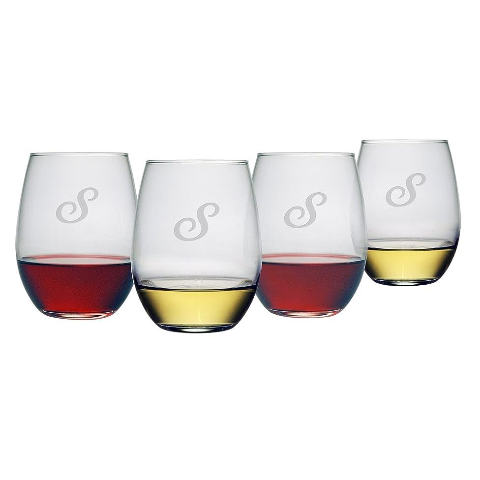 急速なパットお勧めSusquehannaガラスモノグラムStemlessワイン、メガネ、21-ounce初期S、4のセット
