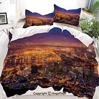 Homenon City Decor Duvet Cover Set Full Size,Cape Town Panorama at Dawn South Africa Coastline Roads Architecture Twilight,Decorative 3 Piece Bedding Set with 1 Pillow Shams