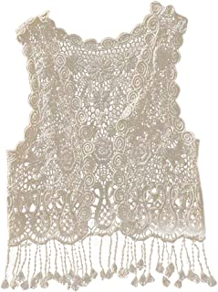 COODIO Baby Girl Crochet Lace Hollow Out Sleeveless Tops Tassel Vest Cardigan for Toddler Girls
