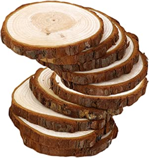 IPOTCH Pack of 10 Rustic Wood Log Slices Discs Circles Tree Bark Slabs, Wooden Embellishments for Crafts Wedding Hobbies C...