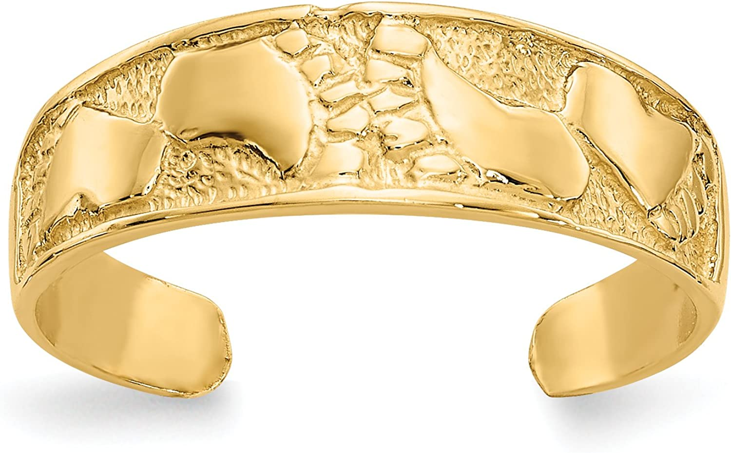 14k Yellow Gold Polished Footprints Toe Ring with Textured Band