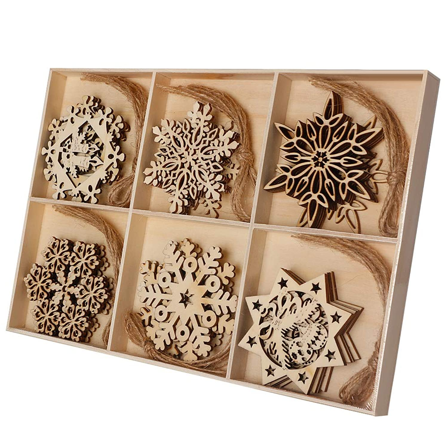 Joy-Leo 2.7-3.3 Inch Wood Coasters & Snowflake Unfinished Wood Cutouts Slices Christmas Ornaments(6 Patterns x 5 Sets=30pcs), with Jute Twine for Crafts and Christmas Tree Pendants Decoration