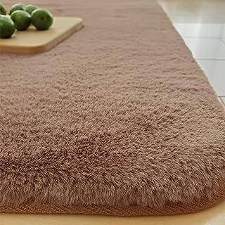 REDREAM ラグ カーペット低反発 ラグマット厚手 絨毯 洗える らぐまっと 1.5畳 極厚 20mm おしゃれ 人造ウサギ毛 ふわふわ 滑り止め らぐ 床暖房 ホットカーペット対応 (130x185cm, ブラウン)