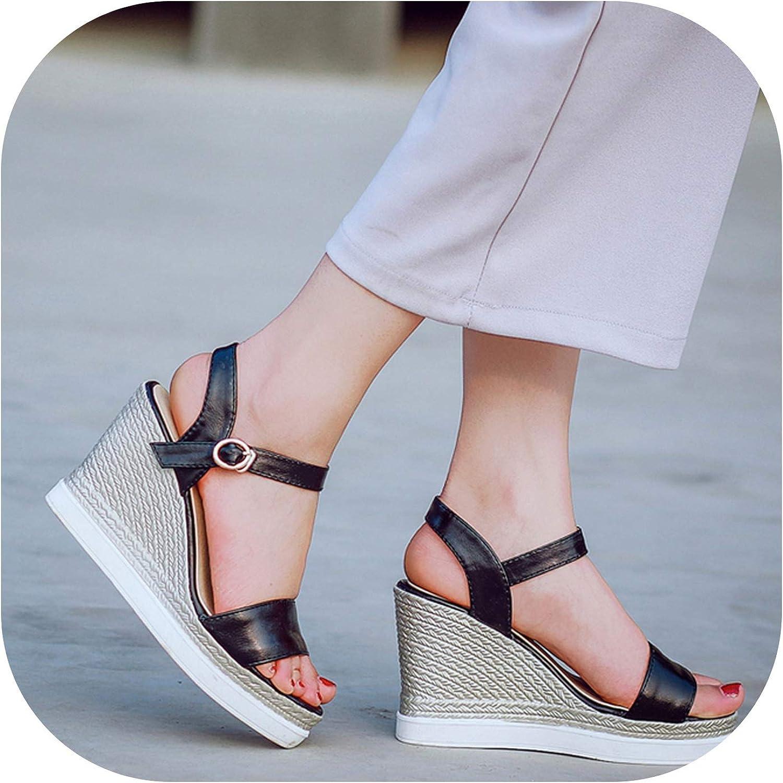 2019 Summer Wedges Sandals Women Platform shoes High Heels Open Toe Buckle Casual shoes Female Black Pink Green