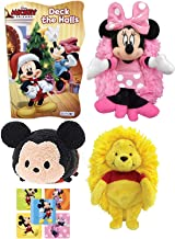 Classic Mickey Mini Character Plush Hide Away Pals Minnie Mouse Soft Disney Cuddle Buddy Bundled with Winnie Pooh Smile Friends + Disney Board Book Holiday Shaped Fun Pack 3 items + Bonus Stickers