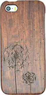 PhantomSky Wood Case Compatible for iPhone SE / 5S / 5, Premium Quality Handmade Natural Wood Cover - Rosewood Dandelion