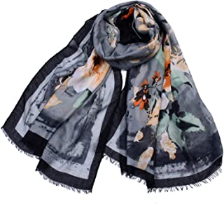 Scarf Large Cotton Flower Print Tassel Elegant Shawl for Ladies Fashion Four Seasons Multi-Function Anti-Cold air Conditioning Sunscreen Beach Scarf` TuanTuan (Color : Gray)