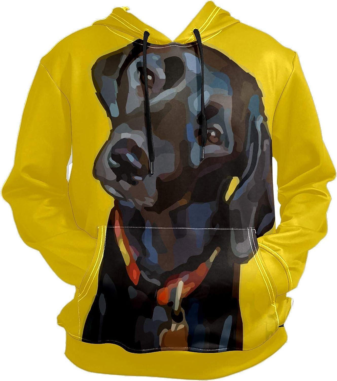Men's Sport Hoodie Black Labrador Dog Puppy Yellow Big and Tall Hoodies for Men Women Oversized Hooded Sweatshirt Hip Hop Pullover Hoodie Midweight Hood for Boys Girls