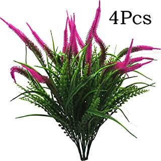 Artificial Plants Flowers Fake Outdoor UV Resistant Plants Faux Plastic Greenery Shrubs Indoor Outside for Home Decor 4Pcs