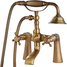 Antique Brass Tub Bathtub Clawfoot Faucet Deck Mount with Handheld Shower Telephone Shaped Sprayer Showerheld Double Cross...