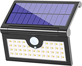Foldable Solar Lights Outdoor 42 LED, Pobon Waterproof Super Bright [3 Lighting Modes] Motion Sensor Solar Security Light Portable LED Camping Lights for Driveway, Patio, Yard, Garden, Deck (Black)