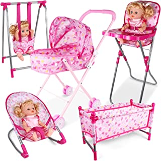 Baby Doll Stroller Sets 5 in 1 Dolls Accessories Bundle Doll Stroller Doll High Chair Bouncer Crib Swing Doll Furniture Nu...