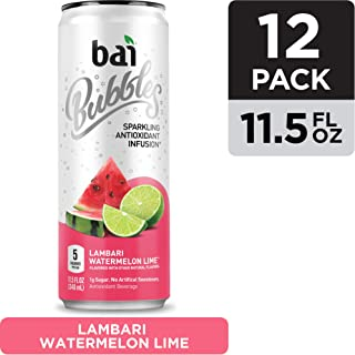 Bai Bubbles, Sparkling Water,  Lambari Watermelon Lime, Antioxidant Infused Drinks, 11.5  Fl. Oz Cans, 12 count