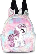 Sanjis Enterprises LED Light Plush Cute Unicorn Furry Rainbow  School Bag  Soft Bag for Kids  Travel Bag Backpack for Kids...