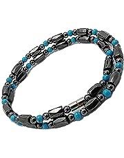 [ZIG's] [45・50・55cm] お洒落 魅惑の輝き 磁気ネックレス ヘマタイト×ターコイズ アンクレット,ブレス可 (tc03-la)