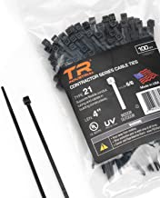 """TR IndustrialTR88401TR Industrial Contractor Series UV Cable Ties (100-Piece), 4"""", Type 21, Made in USA,"""