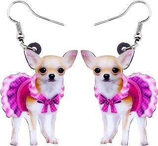 NEWEI Acrylic Sweet Chihuahua Dog Earrings Drop Dangle Animal Jewelry For Gift Girl Women