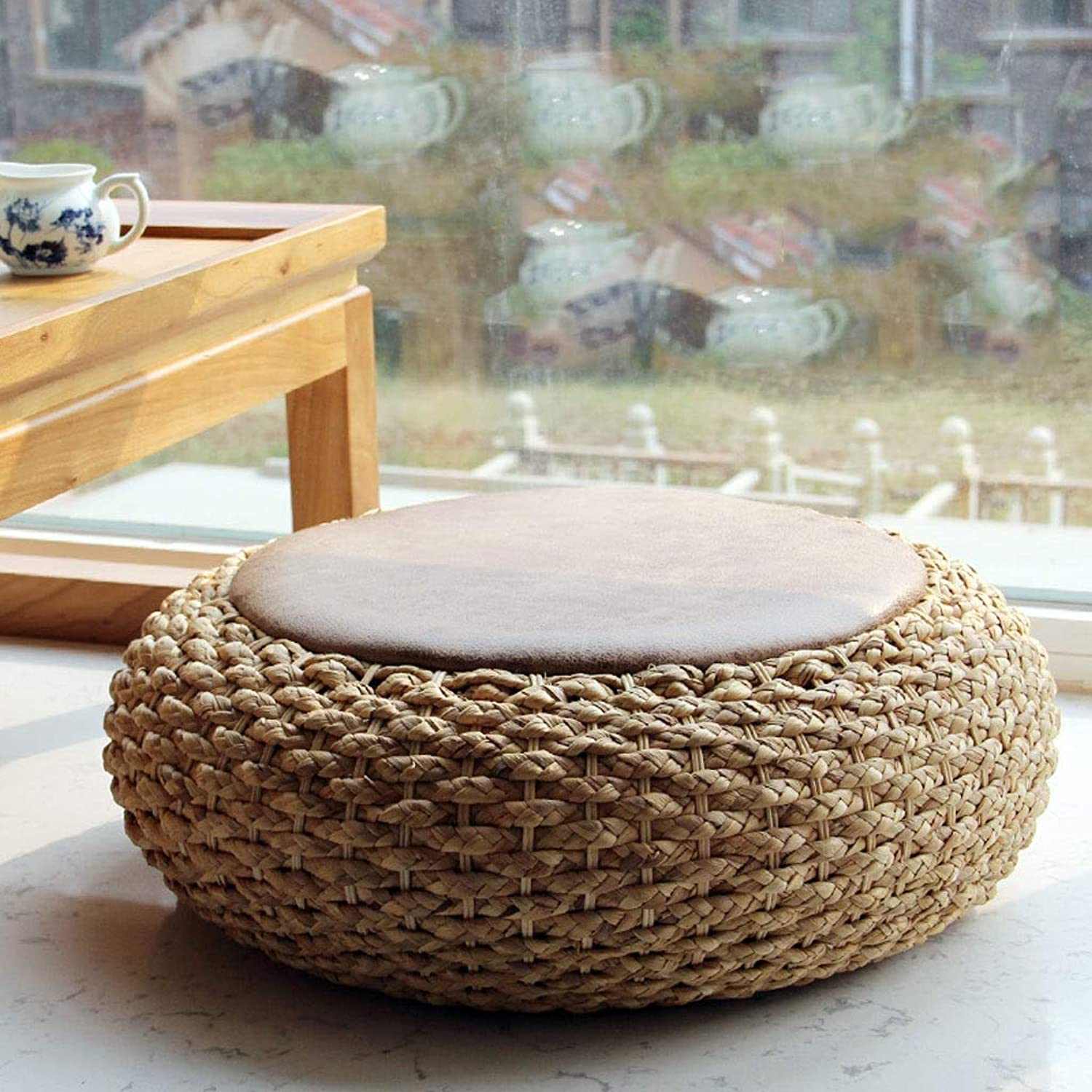 RXY-Wicker chair Straw Futon Cushion, Thick Round Rattan Cushion, Japanese-Style Floor Tatami Mat (Size   40x17cm)