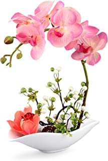 Louis Garden Artificial Silk Flowers 7 Head Simulation Phalaenopsis Bonsai (Simulation of Water) (Pink)