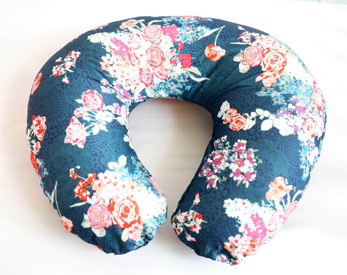 Nursing Pillow Cover Baby Cover Infant Nursing Pillow Slipcovers for Breastfeeding Moms Great Baby Shower Gift (Navy Coral)
