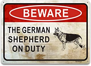 Beware Of Dog Sign, The German Shepherd On Duty Sign, Private Property No Trespassing Sign, 25 x 18cm Rust Free Aluminum,W...