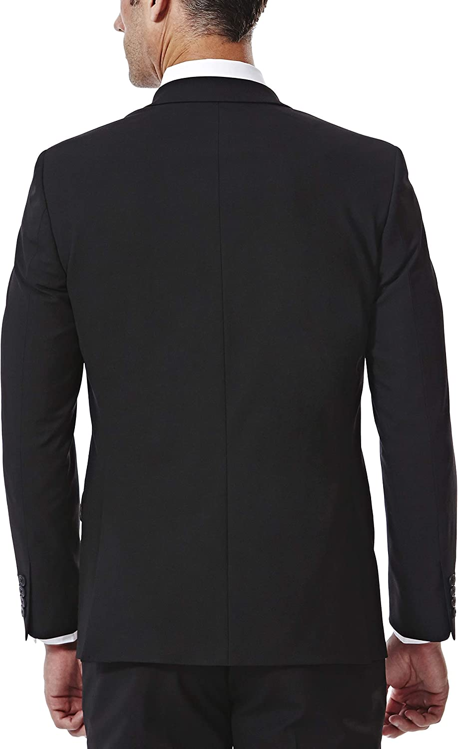 J.M. Haggar 4-Way Stretch Solid 2-Button Slim Fit Suit Separate Coat, Black, 40XL with Separate Pant, Black, 34Wx32L