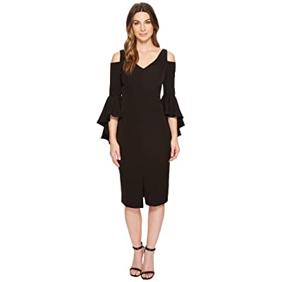 Maggy London Cold Shoulder Sheath Dress with Ruffle Sleeve (Black) Women