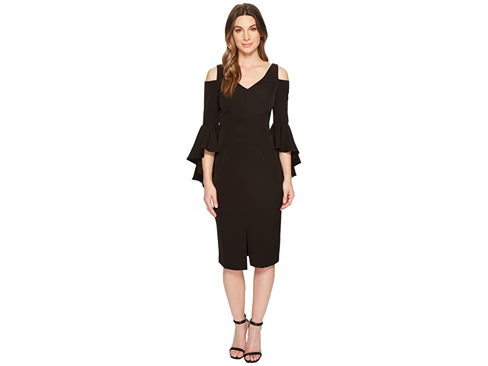 5711f3af396 Maggy London Cold Shoulder Sheath Dress with Ruffle Sleeve (Black) Women