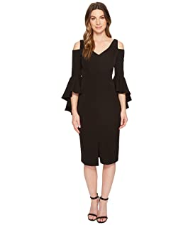 Cold Shoulder Sheath Dress with Ruffle Sleeve