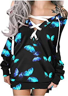 Greetuny Women Halloween Dress Y2K Long Sleeve Butterfly Printed Dress Tie-up Tunic Pullover Midi Dress