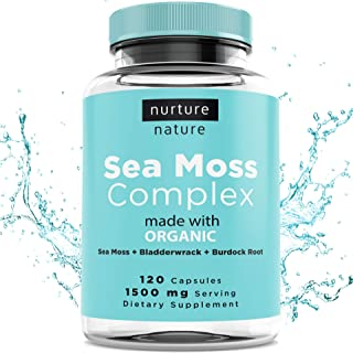 Nurture Nature Organic Sea Moss Complex (120 Capsules/1500mg Serving) | Sea Moss Organic | Irish Sea Moss Organic Raw | Seamoss Raw Organic | Sea Moss Capsules | Sea Moss and Bladderwrack Capsules