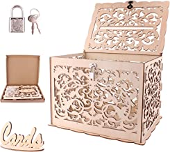 CNNIK Bricolaje Caja de tarjetas de boda de madera con candado y letrero de tarjeta, Caja de postes tallada hueca removible, Recogiendo regalos Recepción de boda Cumpleaños y ocasiones especiales