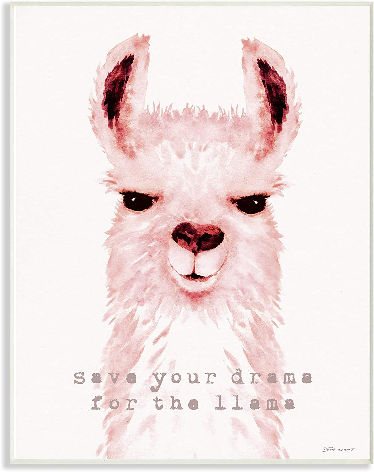 The Stupell Home Decor Save Your Drama Pink Watercolor Llama Wall Plaque Art, Multi-color