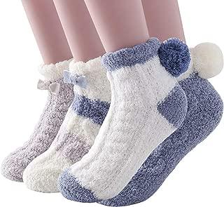 Super Soft Cozy Winter Warm Slipper Socks Womens Anti Slip Grip Fuzzy Pom Pom Socks 4 Pairs