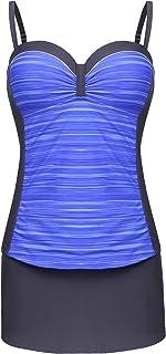 LAZOSAL Women Two Piece Tankini Push up Color Block Bathing Suit Plus Size S-3XL