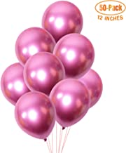 Chrome Balloon 12 inch 50-Pack, Thicken Metallic Balloons, Shiny Birthday Balloons, Party Decoration for Wedding, Baby Shower, Christmas (Pink)