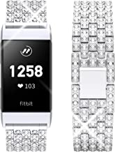Goton Jewelry Band Compatible for Fitbit Charge 3 Band, Women Men Diamond Bling Crystal Metal Replacement Strap Compatible with Fitbit Charge 3 Fitness Smart Watch (Silver)