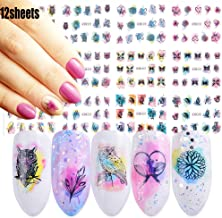 Nail Decals for Women Watercolor Nail Art Stickers 12 Sheets Self-adhesive Owl Butterfly Leaf Feather Water Transfer Papers for Female Fingernails & Toenails Decoration Manicure Wraps Nail Accessories