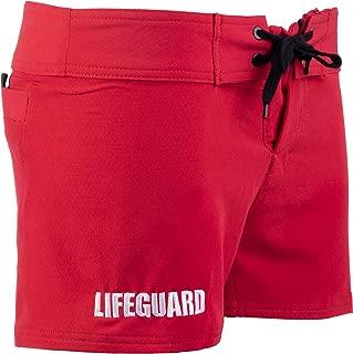 Lifeguard Spandex Board Shorts | Stretchy Red Women's Lifeguarding Swim Bottoms