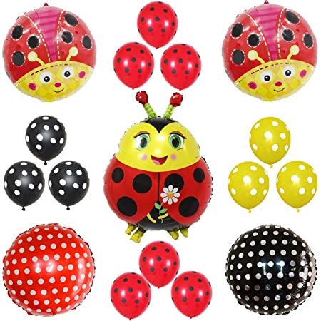 13 Pcs Ladybug Fancy Birthday Party Supplies Ladybug Balloons for Girls Birthday Party Baby Shower