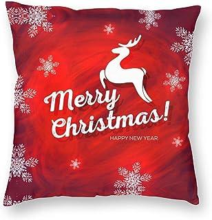 Guan_Collection Copo de nieve y ciervo, funda de almohada Feliz Año Nuevo 45,7 x 45,7 cm, fundas de almohada suaves y agradables al tacto