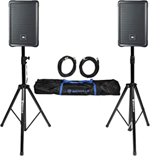 "2 JBL IRX108BT 8"" 1000 Watt Powered DJ Portable PA Speakers w/Bluetooth+Stands"